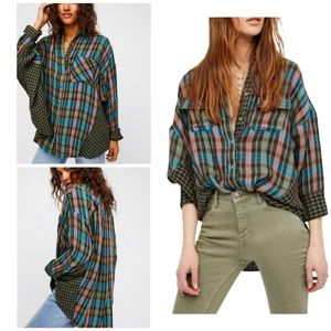 Free People Slouchy Oversize Plaid Flannel Shirt L